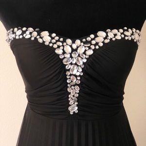 Speechless Strapless Rhinestone Sweetheart Gown